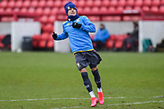 Ian Poueda of Leeds United Under 23's warming up before the U23 Professional Development League match between Barnsley and Leeds United at Oakwell, Barnsley, England on 9 March 2020.