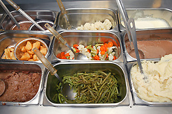 Close up of a selection of food in the special diet section of Hospital kitchen,