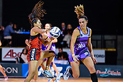 Kimiora Poi of the Tactix underpressure from Grace Kara of the Stars during the ANZ Premiership Netball match, Tactix V Stars, Horncastle Arena, Christchurch, New Zealand, 23rd May 2018.Copyright photo: John Davidson / www.photosport.nz