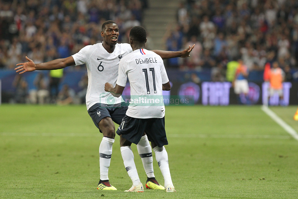June 1, 2018 - Paris, Ile-de-France, France - Ousmane Dembl (France) celebrates after scoring with Paul Pogba (France) during the friendly football match between France and Italy at Allianz Riviera stadium on June 01, 2018 in Nice, France..France won 3-1 over Italy. (Credit Image: © Massimiliano Ferraro/NurPhoto via ZUMA Press)