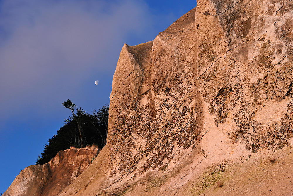 Møns Klint - chalk cliffs with moon, Denmark