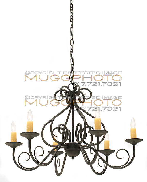 iron chandelier with fake candles by chandra