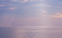 New York, Long Island Sound at sunset with the glittering sea.