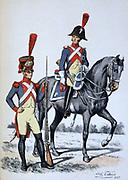 Gendarme 2nd class, mounted, and Gendarme cadet.  'Histoire des corps de troupes de la ville de Paris' , 1887.  France, Order, National Guard,  Uniform, Chromolithograph