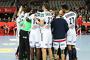 France players celebrate during the EHF 2018 Men's European Championship, 2nd Round, Handball match between Serbia and France on January 22, 2018 at the Arena in Zagreb, Croatia - Photo Laurent Lairys / ProSportsImages / DPPI