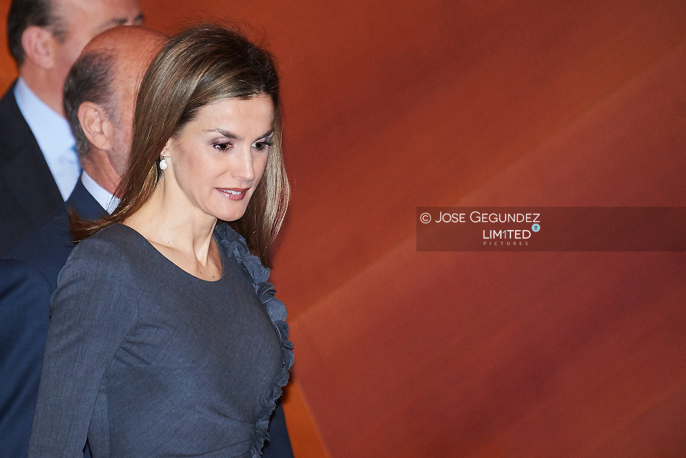 Queen Letizia of Spain attends the Opening ceremony of the '1st International Symposium on Cancers of the Skin' at Palacio de Cibeles on January 30, 2015 in Madrid