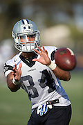 Dallas Cowboys rookie running back Darius Jackson (34) catches a pass during the second day of the Dallas Cowboys 2016 NFL training camp football practice held on Sunday, July 31, 2016 in Oxnard, Calif. (©Paul Anthony Spinelli)