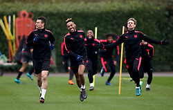Arsenal's Laurent Koscielny (left), Pierre-Emerick Aubameyang and Nacho Monreal (right) during the training session at London Colney, Hertfordshire.