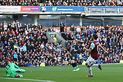 Liverpool goalkeeper Adrian (13) blocks the shot from Burnley forward Jay Rodriguez (19) during the Premier League match between Burnley and Liverpool at Turf Moor, Burnley, England on 31 August 2019.