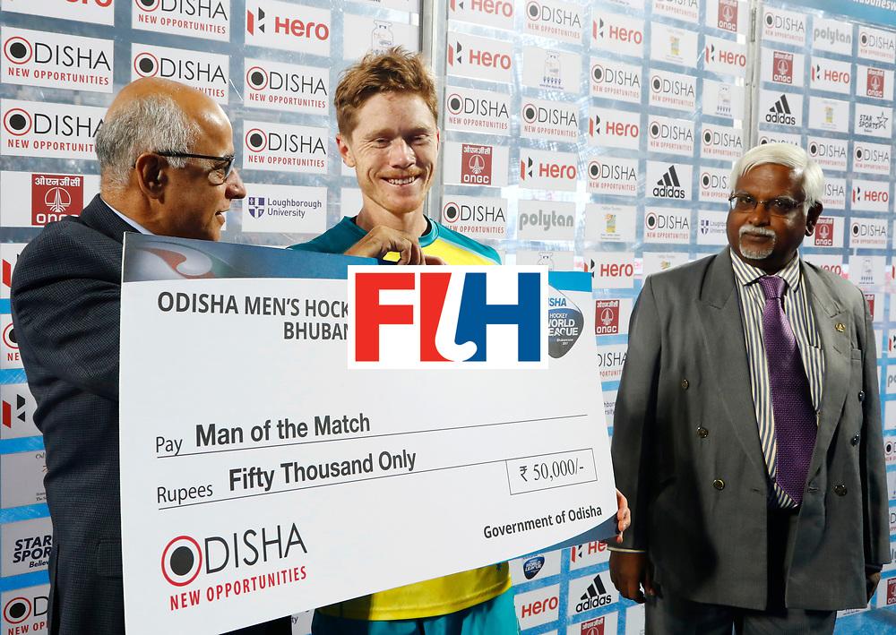 Odisha Men's Hockey World League Final Bhubaneswar 2017<br /> Match id:15<br /> Spain v Australia<br /> Foto: Man of the Match is Matt Dawson (Aus) <br /> COPYRIGHT WORLDSPORTPICS KOEN SUYK