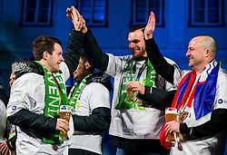 Miha Zarabec, Borut Mackovsek during reception of Slovenian National Handball Men team after they placed third at IHF World Handball Championship France 2017, on January 30, 2017 in Mestni trg, Ljubljana centre, Slovenia. Photo by Vid Ponikvar / Sportida