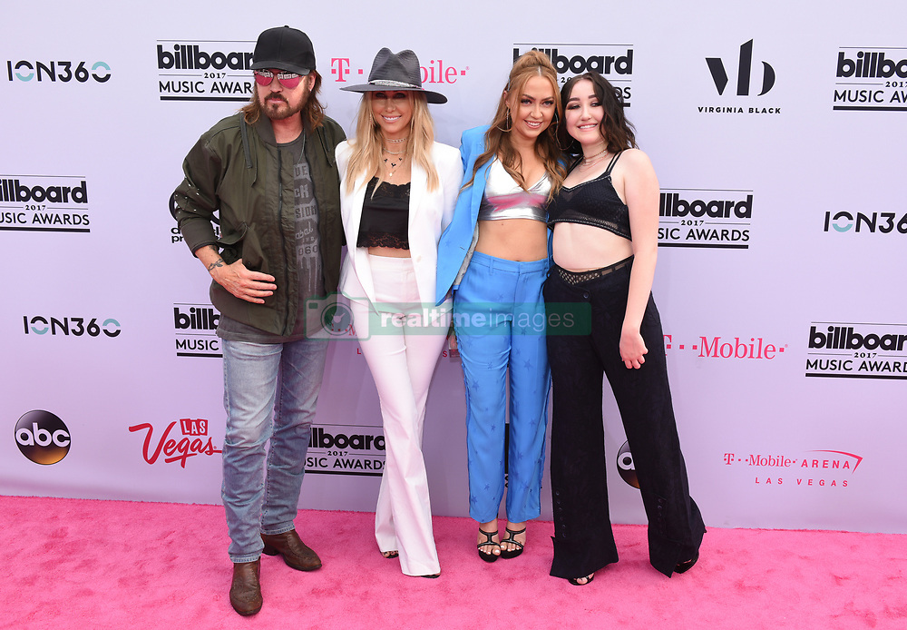 Tish Cyrus, singers Billy Ray Cyrus and Noah Cyrus, and DJ Brandi Cyrus at 2017 Billboard Music Awards held at T-Mobile Arena on May 21, 2017 in Las Vegas, NV, USA (Photo by Jason Ogulnik) *** Please Use Credit from Credit Field ***
