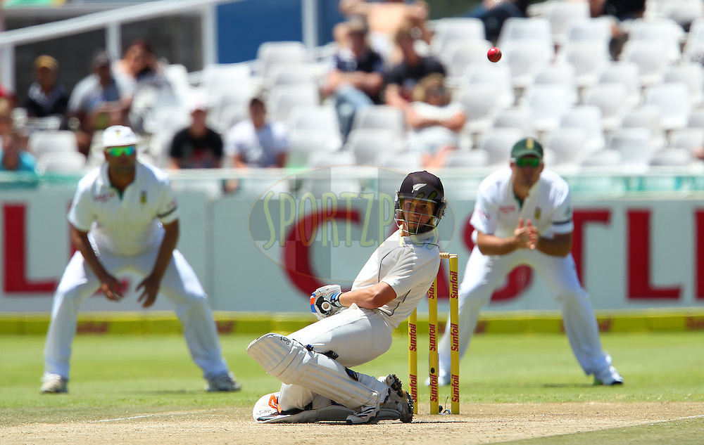 BJ Watling avoids a high delivery during the 3rd day of the 1st Sunfoil Test match between South Africa and New Zealand held at Newlands Stadium in Cape Town, South Africa on the 4th January 2013..Photo by Ron Gaunt/SPORTZPICS .
