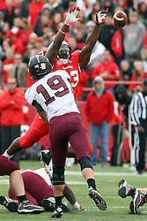 06 October 2012:  Shelby Harris deflects a pass by Kory Faulkner during an NCAA football game between the Southern Illinois Salukis and the Illinois State Redbirds at Hancock Stadium in Normal IL