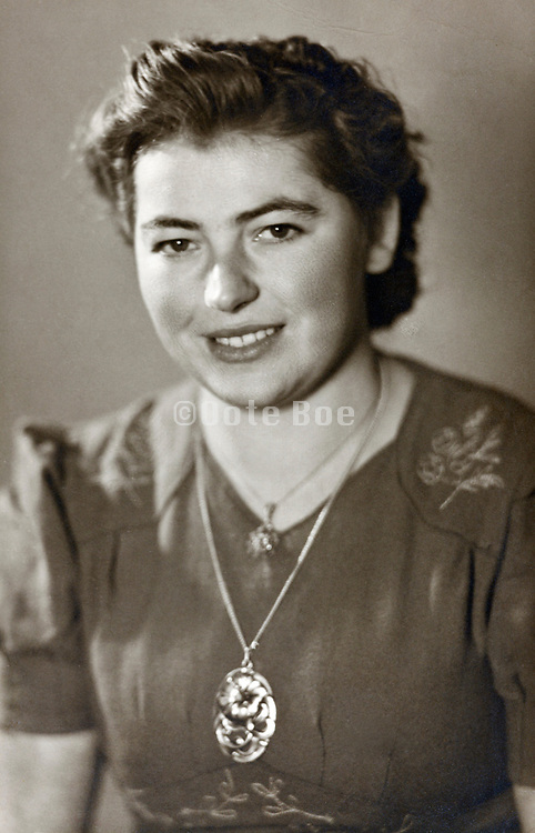 vintage portrait female person 1950s