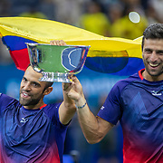 2019 US Open Tennis Tournament- Day Twelve.  Juan Sebastian Cabala and Robert Farah of Colombia with the winners trophy after their victory in the Men's Doubles Finals match on Arthur Ashe Stadium during the 2019 US Open Tennis Tournament at the USTA Billie Jean King National Tennis Center on September 6th, 2019 in Flushing, Queens, New York City.  (Photo by Tim Clayton/Corbis via Getty Images)