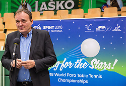 Franc Zdolsek, mayor of Lasko during opening ceremony at 15th Slovenia Open - Thermana Lasko 2018 Table Tennis for the Disabled, on May 9, 2018, in Dvorana Tri Lilije, Lasko, Slovenia. Photo by Vid Ponikvar / Sportida