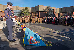 @Licensed to London News Pictures 13/11/2016. Maidstone, Kent. Flag bearers attending the war memorial for the Remembrance Day Service in Maidstone, Kent. Photo credit: Manu Palomeque/LNP