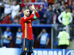 July 1, 2018 - Moscow, Russia - Round of 16 Russia v Spain - FIFA World Cup Russia 2018.Sergio Ramos (Spain) greeting the supporters after the penalties at Luzhniki Stadium in Moscow, Russia on July 1, 2018. (Credit Image: © Matteo Ciambelli/NurPhoto via ZUMA Press)