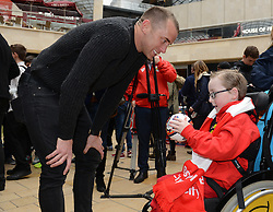 Bristol City's Aaron Wilbraham speaks with Oskar - Photo mandatory by-line: Dougie Allward/JMP - Mobile: 07966 386802 - 11/03/2015 - SPORT - Football - Bristol - Cabot Circus Shopping Centre - Johnstone's Paint Trophy