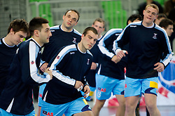 Sebastian Skube, Dragan Gajic, Peter Pucelj, Dino Bajram and Matej Gaber of Slovenia at warming up during handball match between National teams of Slovenia and Poland of Qualifications for EURO 2012, on March 9, 2011 in Arena Stozice, Ljubljana, Slovenia. (Photo By Urban Urbanc / Sportida.com)