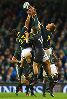 Rugby Union - 2017 Guinness Series (Autumn Internationals) - Ireland vs. South Africa<br /> <br /> Players from both side attempt to gather possession in the air, at the Aviva Stadium.<br /> <br /> COLORSPORT/KEN SUTTON