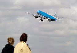 Airplanes depart from Schiphol Airport in Amsterdam, the Netherlands, on Tuesday, April 20, 2010. European airspace that was closed by the volcanic eruption in Iceland, gradually reopened after transport ministers said planes could fly through thinner parts of the ash plume.  (Photo © Jock Fistick)