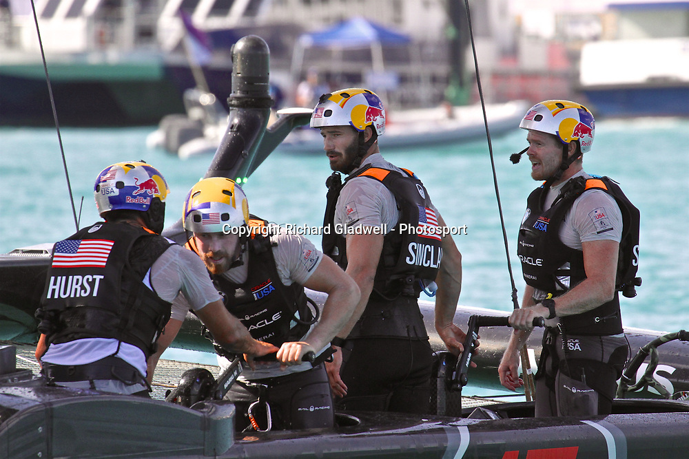 Tom Slingsby (right) Oracle Team USA - Race 12  - 35th America's Cup - Bermuda  May 28, 2017 . Copyright Image: Richard Gladwell / Sail World / www.photosport.nz