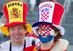 Fans of Croatia and Spain prior to the UEFA EURO 2012 group C match between  Croatia and Spain at PGE Arena Gdansk on June 18, 2012 in Gdansk / Danzig, Poland. (Photo by Vid Ponikvar / Sportida.com)