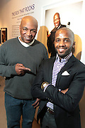 New York, NY- MARCH 10:  (L-R) Video Music Box Founder Ralph McDaniels and Curator Dexter Wimberly at the Opening Reception of ' THE BOX THAT ROCKS: 30 Years of Video Music Box and the Rise of Hip Hop Music & Culture held at the Museum of Contemporary African Diasporan Arts (MoCADA) on March 10, 2012 in Brooklyn, New York City. (Photo by Terrence Jennings)
