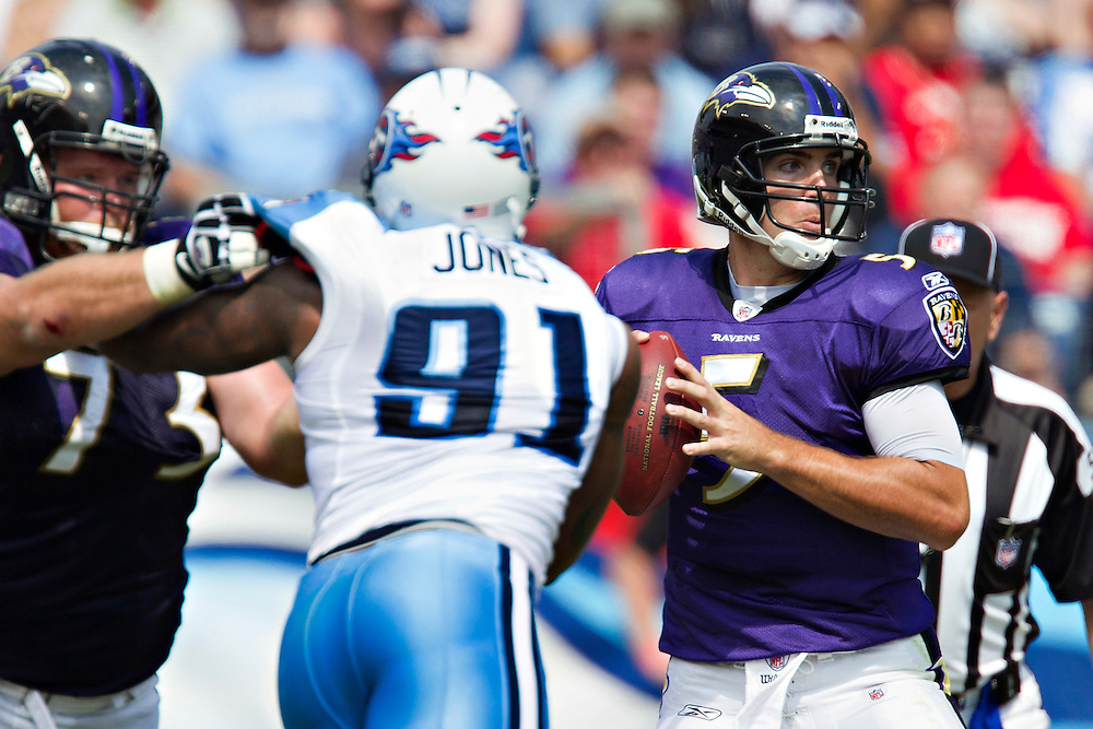 NASHVILLE, TN - SEPTEMBER 18:   Joe Flacco #5 of the Baltimore Ravens drops back to pass against the Tennessee Titans at LP Field on September 18, 2011 in Nashville, Tennessee.  The Titans defeated the Ravens 26 to 13.   (Photo by Wesley Hitt/Getty Images) *** Local Caption *** Joe Flacco