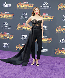 Elizabeth Olsen at the premiere of Disney and Marvel's 'Avengers: Infinity War' held at the El Capitan Theatre in Hollywood, USA on April 23, 2018.