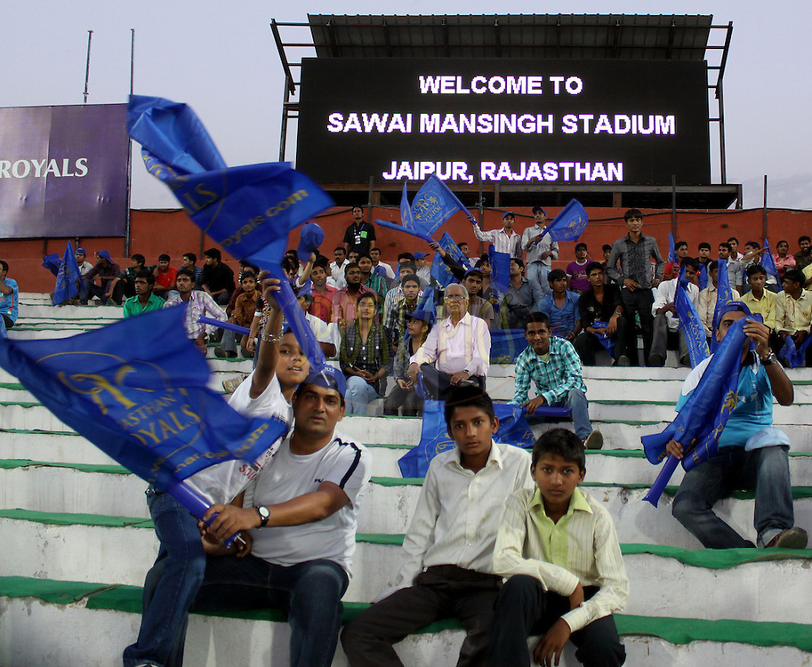 Fans of Rajasthan Royals during match 52 of the the Indian Premier League ( IPL ) Season 4 between the Rajasthan Royals and the Chennai Superkings held at the Sawai Mansingh Stadium, Jaipur, Rajatshan, India on the 9th May 2011..Photo by  Sandeep Shetty/BCCI/SPORTZPICS.