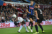 Richard Towell of Rotherham United (13) and Will Vaulks of Rotherham United (4) block a Yannick Bolasie of Aston Villa (11) cross during the EFL Sky Bet Championship match between Aston Villa and Rotherham United at Villa Park, Birmingham, England on 18 September 2018.