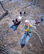 Recreational tree climbing in Colorado.  Jack, left and his father Tom Nawrocki climb a cottonwood outside Denver as part of a recreational tree climbing class.
