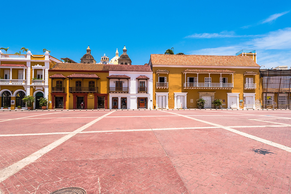 Wide angel shot of  an empty town square in Cartagena Columbia on a clear morning.
