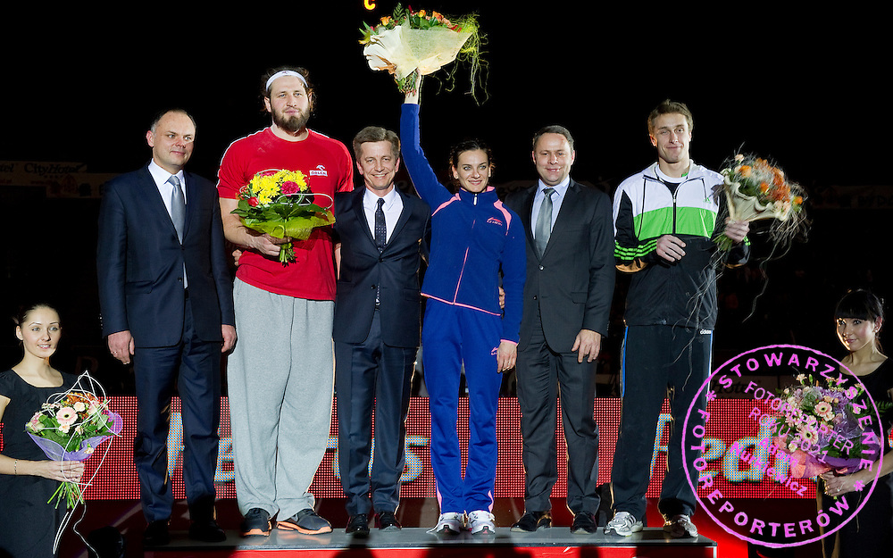 (2L) Tomasz Majewski of Poland won in men's shot put &amp; (C) Elena Isinbaeva ( Jelena Isinbajewa ) of Russia won in women's pole vault &amp; (R) Lukasz Michalski of Poland won in men's pole vault during indoor athletics meeting Pedro's Cup 2012 at Luczniczka Hall in Bydgoszcz, Poland.<br /> <br /> Poland, Bydgoszcz, February 8, 2012.<br /> <br /> Picture also available in RAW (NEF) or TIFF format on special request.<br /> <br /> For editorial use only. Any commercial or promotional use requires permission.<br /> <br /> Mandatory credit:<br /> Photo by &copy; Adam Nurkiewicz / Mediasport