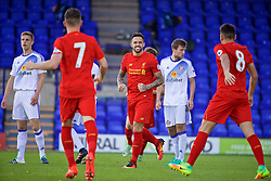 BIRKENHEAD, ENGLAND - Sunday, September 25, 2016: Liverpool's Danny Ings celebrates scoring the first goal against Sunderland during the FA Premier League 2 Under-23 match at Prenton Park. (Pic by David Rawcliffe/Propaganda)