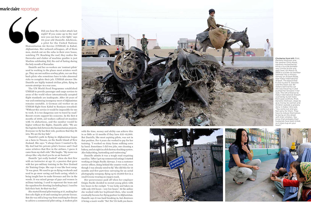 Marie Claire Reportage feature story - Pilot, Danielle Aitchison, who flies in Afghanistan for The United Nations Humanitarian Air Service (UNHAS).