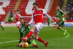 David Fox of Plymouth Argyle slide tackles Ryan Williams of Rotherham United during a dangerous attack - Mandatory by-line: Ryan Crockett/JMP - 16/12/2017 - FOOTBALL - Aesseal New York Stadium - Rotherham, England - Rotherham United v Plymouth Argyle - Sky Bet League One