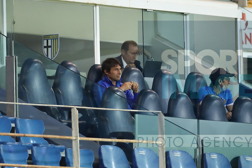 Inter's Italian Head coach Antonio Conte watches the game from the stands due to a disqualification during the Serie A match at Stadio Ennio Tardini, Parma. Picture date: 28th June 2020. Picture credit should read: Jonathan Moscrop/Sportimage