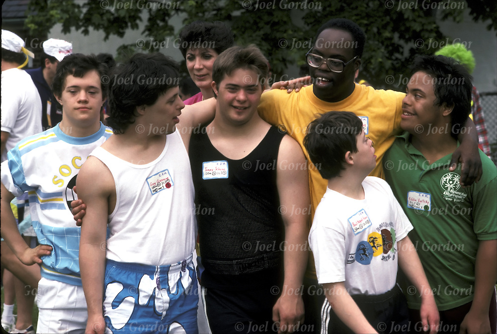 Down Syndrome, mainstreaming - developmental disabled individuals engaged athletic activities at the Special Olympics, NY State