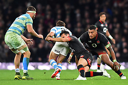 November 11, 2017 - London, United Kingdom - England's Alex Lozowski makes his tackle with England's Nathan Hughes as back up during Old Mutual Wealth Series between England against Argentina at Twickenham stadium , London on 11 Nov 2017  (Credit Image: © Kieran Galvin/NurPhoto via ZUMA Press)