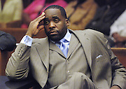 DETROIT, MICHIGAN - USA - Former Detroit Mayor Kwame Kilpatrick sits in court during an emergancy bond appeal hearing in front of Judge Thomas Jackson at the Wayne County Third Circuit Court August 8, 2008 in Detroit, Michigan.(AP Photo/Bryan Mitchell)