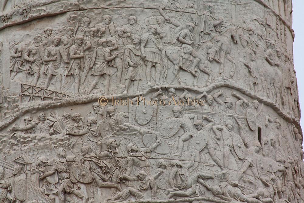 Deatil of Trajan's Column Rome 2013. Commenmorating Roman Emperor Trajan's victory in the Dacian Wars.