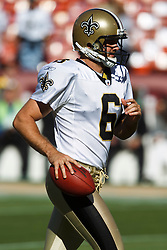 September 20, 2010; San Francisco, CA, USA;  New Orleans Saints punter Thomas Morstead (6) warms up before the game against the San Francisco 49ers at Candlestick Park. New Orleans defeated San Francisco 25-22.