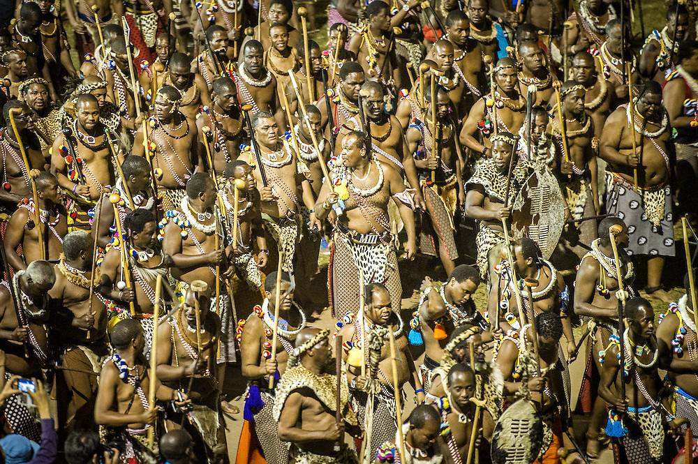 Ludzidzini, Swaziland, Africa -  King Mswati III, of Swaziland surrounded by warriors at the the annual  Umhlanga, or reed dance ceremony. Mswati III is Africa's last absolute monarch