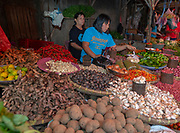 Selling herbs, spices and vegetables at Selling fruit, spices and vegetables at Tomohon extreme market, north Sulawesi, Indonesia.