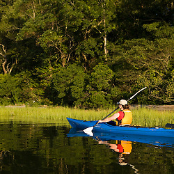 A woman kayaks in the Black Hall River near the mouth of the Connecticut River in Old Lyme, Connecticut.