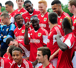 Bristol City's Albert Adomah pulls a face during the team photo - Photo mandatory by-line: Dougie Allward/JMP - Tel: Mobile: 07966 386802 31/07/2013 - SPORT - FOOTBALL - Avon Gorge Hotel - Clifton Suspension bridge - Bristol -  Team Photo